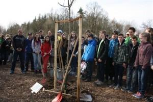 Am Baum für die Kinder von Buchenwald. Dresdener Schüler_innen sind  Paten des Baumes